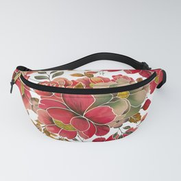 Elegant coral red green watercolor summer floral Fanny Pack