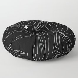 Confinement Black Ink on White Geometric Drawing Inverted Floor Pillow