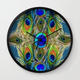 BLUE-GREEN PEACOCK EYE  FEATHERS BLUISH DESIGN Wall Clock