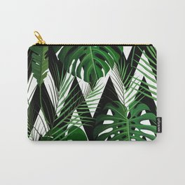 Geometrical green black white tropical monster leaves Carry-All Pouch