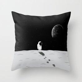 Walking Astronaut on Planet Throw Pillow