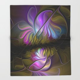 Come Together, Abstract Fractal Art Throw Blanket