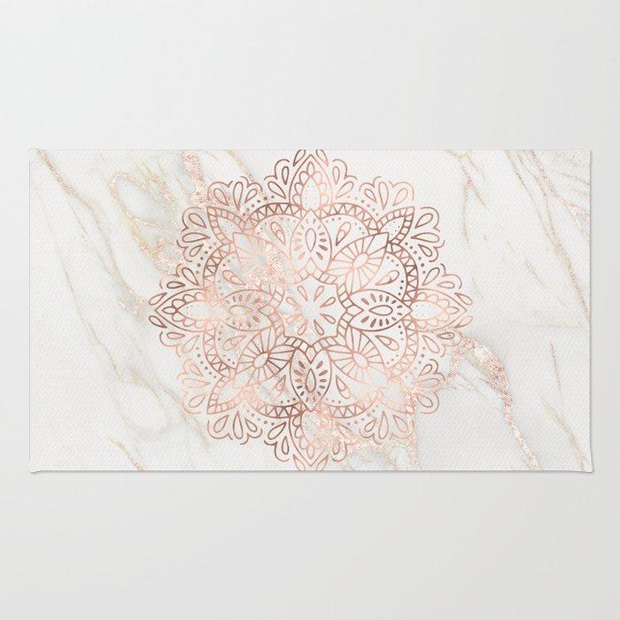 Rose Gold Mandala Marble Rug