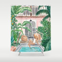 Moroccan Dream - Brunette Hair (Other Hair & Skin Tones Available) Shower Curtain