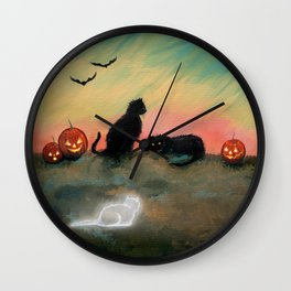 Ghost Cat Halloween Fantasy Art by Molly Harrison Wall Clock