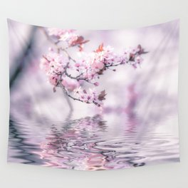 Zen Style Cherry Blossom and Water Wall Tapestry