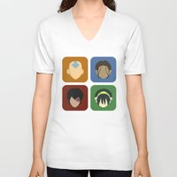 aang V-neck T-shirts featuring Avatar by Raquel Segal