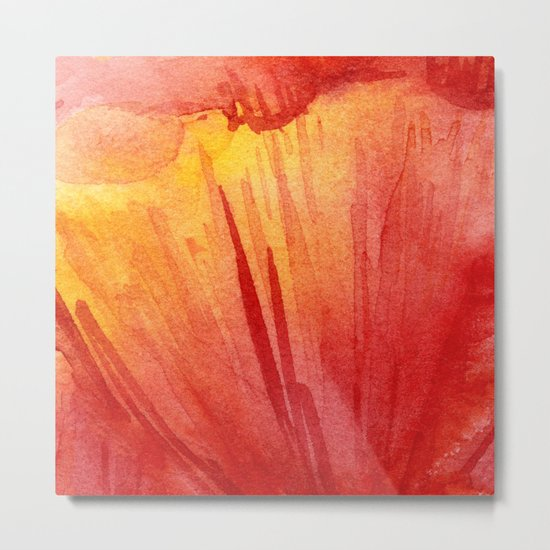Red Orange Abstract Watercolor Texture, Poppy Flower Metal Print