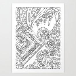 Wandering 47: black & white line art Art Print