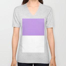 White and Light Violet Horizontal Halves Unisex V-Neck