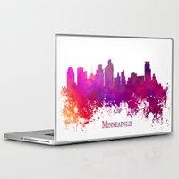 minneapolis Laptop & iPad Skins featuring Minneapolis skyline purple by jbjart