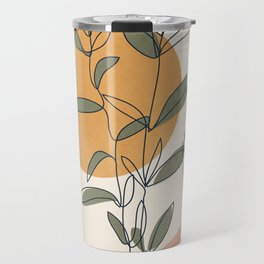 Minimal Line Young Leaves Travel Mug