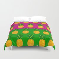 pineapples Duvet Covers featuring Pineapples by The Wallpaper Files