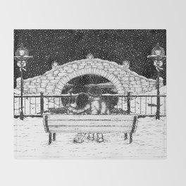 Snowfall in the Park Throw Blanket