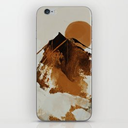 abstract mountains, rustic orange sunrise iPhone Skin