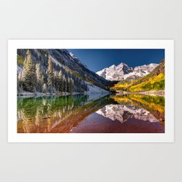 OLena Art Maroon Bells And Maroon Lake Near Aspen Colordo Art Print