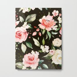 Pink & White Roses On Black Background Watercolor Painting Floral Pattern Metal Print