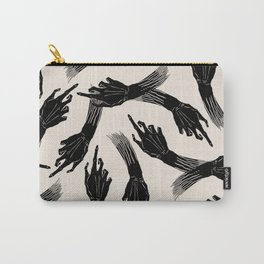 Vintage Retro Pointing Hands Witch Halloween Black Ink Fingers Zombie Pattern Carry-All Pouch