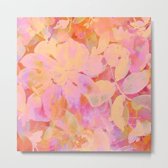 orange and peach floral Metal Print