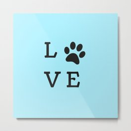 LOVE Paw Print (Dog Valentine Blue) Metal Print