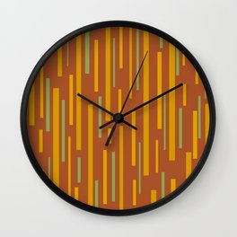 Interrupted Lines Mid-Century Modern Pattern in Mustard Yellow, Ochre, Green, and Clay Wall Clock