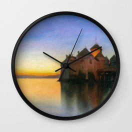 Chillon Sunset in Oil Wall Clock