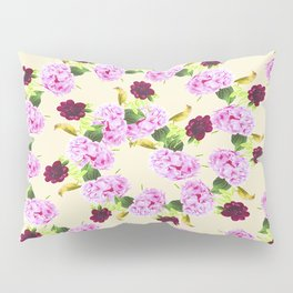 Spiral Pink Hydrangea Red Peony Wren Pattern Pillow Sham