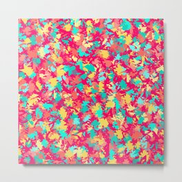 Scattered leaf pattern on Dark pink Metal Print
