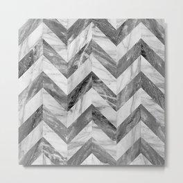 Marble Chevron Metal Print