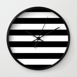 Stripe Black & White Horizontal Wall Clock
