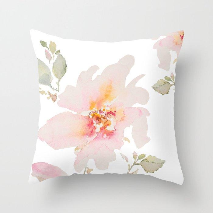 Pink Spring Flower Throw Pillow