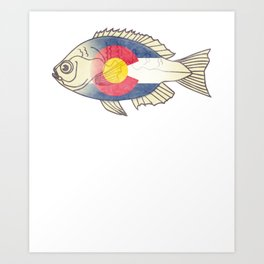 Colorado flag fiy fishing Shirt for men  Art Print