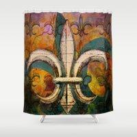 fleur de lis Shower Curtains featuring Patricia's Fleur de Lis by Barbara Chichester Paintographer