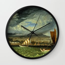 Fort Utrecht Java coast in Strait of Bali by Thomas Baines Wall Clock