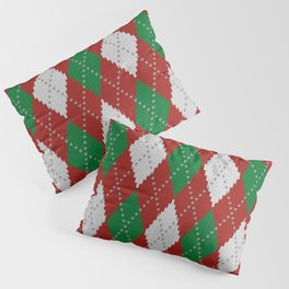Knitted argyle Christmas sweater pattern on red Pillow Sham