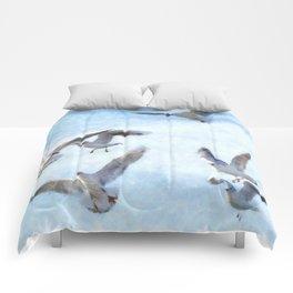 Gulls In Flight Watercolor Comforters