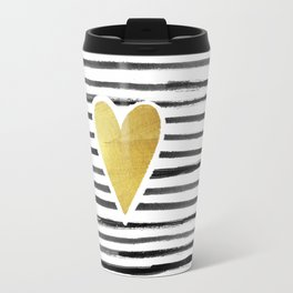 Gold Heart And Black ink abstract horizontal stripes background.  Travel Mug
