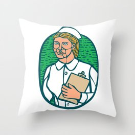 Nurse Holding Clipboard Oval Woodcut Linocut Throw Pillow
