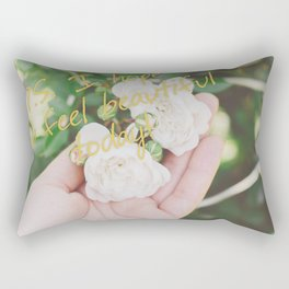 Motivation card on background of two white roses in female hand Rectangular Pillow