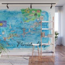 Florida Keys Key West Marathon Key Largo Illustrated Travel Poster Favorite Map Tourist Highlights Wall Mural