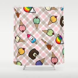Neapolitan Gingham Frosty Treats Shower Curtain