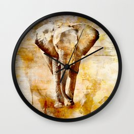 Walking in open yellow Wall Clock