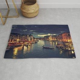 Venise by night.  love, gondola venice, city, tourism, building, Rialto Bridge, venetian, modern, ve Rug