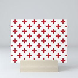Crosses   Criss Cross   Plus Sign   Hygge   Scandi   Red and White   Mini Art Print