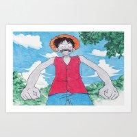luffy Art Prints featuring Monkey Art Luffy by DeMoose_Art