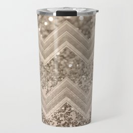 Sepia Glitter Chevron #1 #shiny #decor #art #society6 Travel Mug