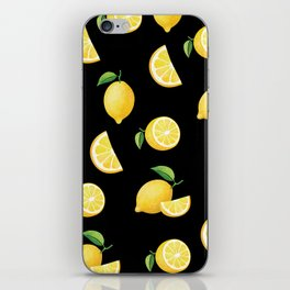 Lemons on Black iPhone Skin