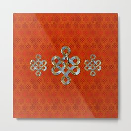 Decorative Marble and Gold Endless Knot symbol Metal Print