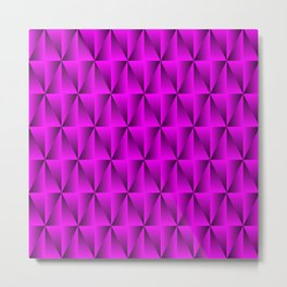 A chaotic grid of raised rhombuses with intersecting pink northern lines and squares. Metal Print