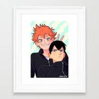 johannathemad Framed Art Prints featuring kagehina by JohannaTheMad